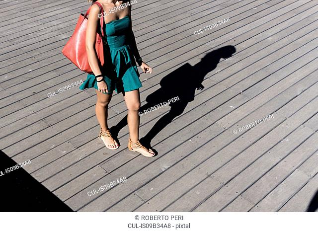 Cropped view of woman wearing sundress carrying handbag
