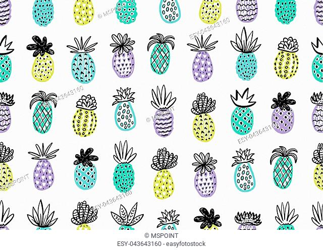 Seamless pineapple pattern. Handdrawn Pinapple with different textures in pastel colors. Exotic fruits background For Fashion print, textile, fabric, covers