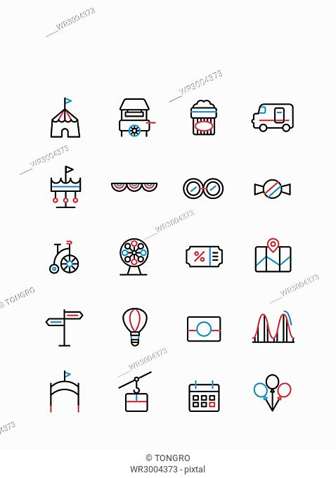 Set of various line icons related to amusement park