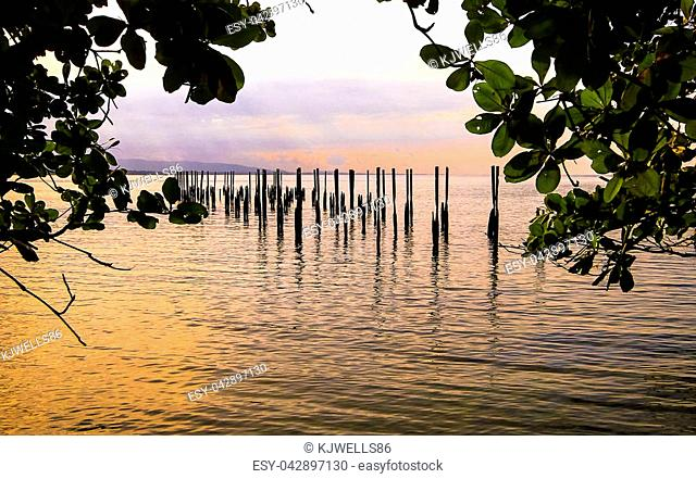 Old wooden posts stick up above the water in the Caribbean Sea as seen at sunset. Cahuita National Park, Costa Rica