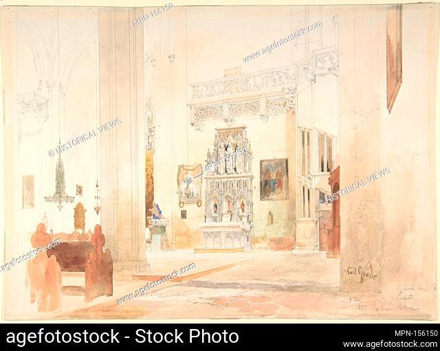Interior of Saint Severin Church in Erfurt. Artist: Carl Georg Anton Graeb (German, Berlin 1816-1884 Berlin); Date: 1855; Medium: Watercolor and pencil;...