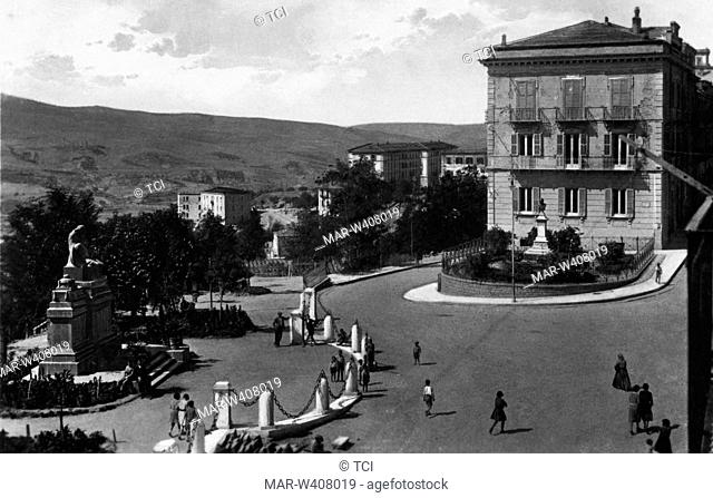 Italy, Basilicata, potenza, place on August 12 with the war memorial, 1930-40