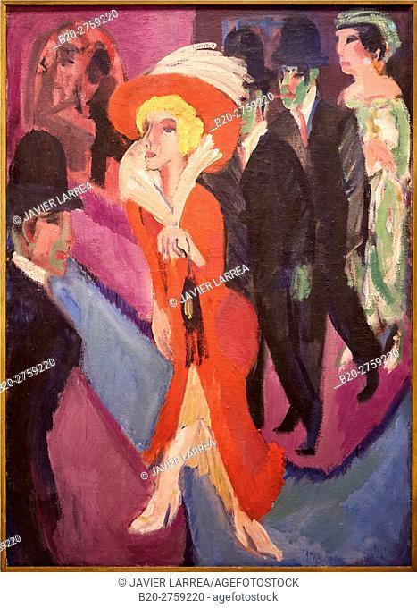 """""""Street With Red Streetwalker"""", 1914-1925, Ernst Ludwig Kirchner, Thyssen-Bornemisza Museum, Madrid, Spain"