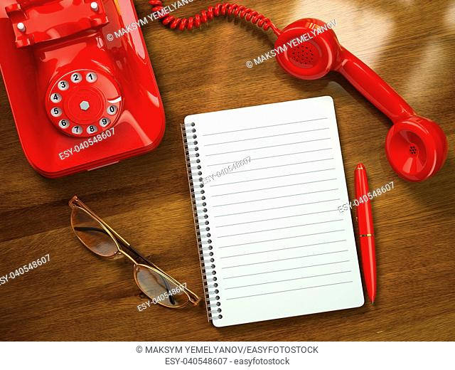Vintage business concept. Retro telephone, notebook, pen and glasses on the table. 3d