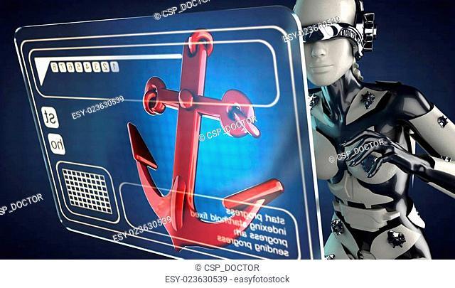 cyborg woman manipulatihg hologram display