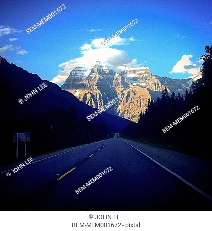 Mount Robson over rural road, Valemont, British Columbia, Canada