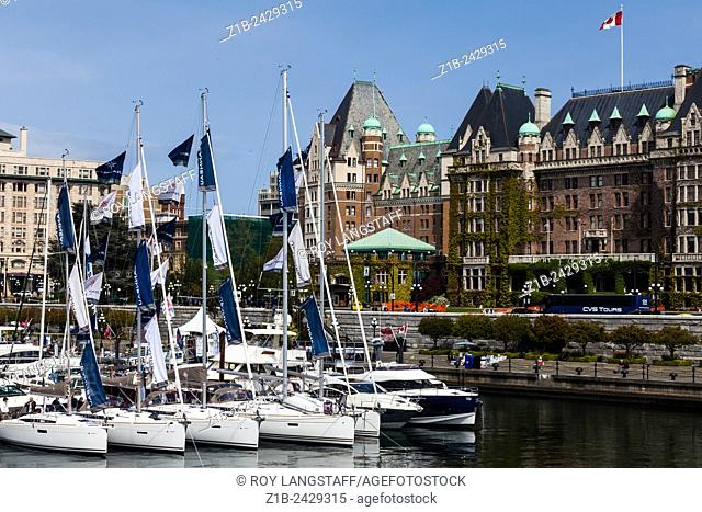 Selection of vessels at the floating boat show in Victoria, British Columbia