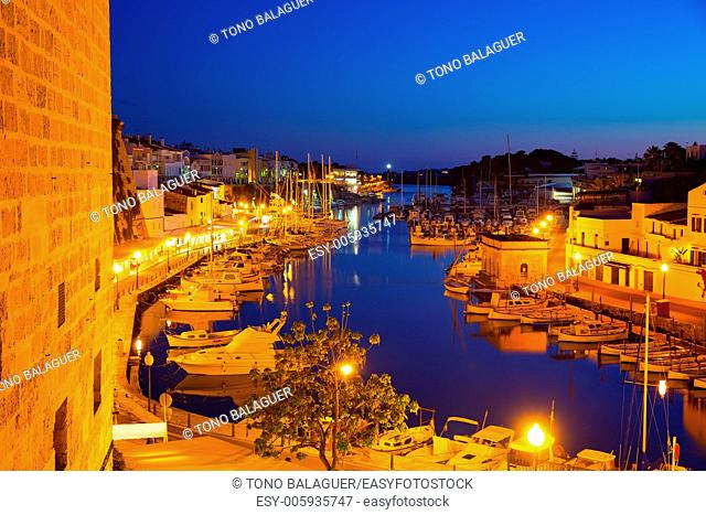 Ciutadella Menorca marina Port sunset town hall and cathedral in Balearic islands