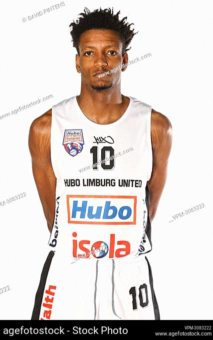 An unidentified player poses at a photoshoot of Belgian Basketball team Limburg United, ahead of the 2021-2022 EuroMillions League