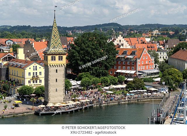 old town, harbour and tower Mangenturm Lindau, Bavaria, Germany