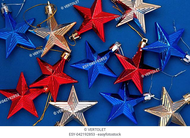 Merry Christmas and Happy New Year. Flat lay, top view holiday decoration stars. Place for text