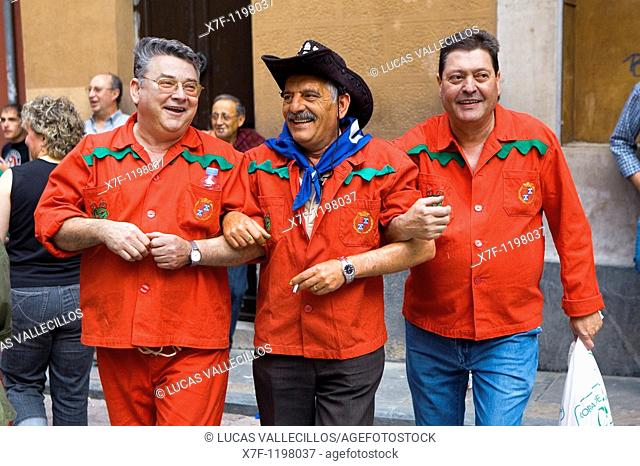 Friends dancing La Patum Masterpiece of Oral and Intangible Heritage by UNESCO Berga  Barcelona  Catalonia  Spain