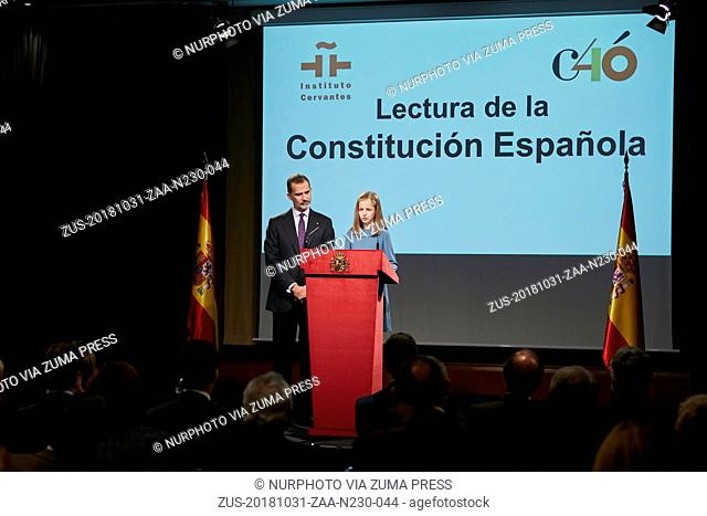 October 31, 2018 - Madrid, Madrid, Spain - King Felipe VI of Spain and Princess Leonor of Spain attends to the Reading of the Spanish Constitution for the 40th...