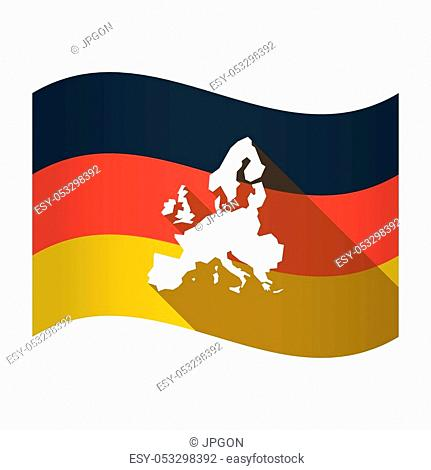 Illustration of an isolated Germany waving flag with a map of Europe