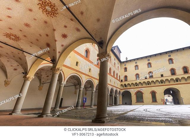 Cloister of Sforza Castle. Milan, Lombardy, Northern Italy, Italy