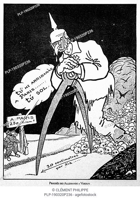 Progrès des Allemands à Verdun, WW1 caricature showing Kaiser Wilhelm II measuring with compass the progression of the German army at the Verdun front in France