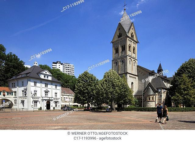 Germany, Bergisch Gladbach, Bergisches Land, North Rhine-Westphalia, Konrad Adenauer Square, brewhouse Am Bock, parish church Saint Laurentius, catholic church