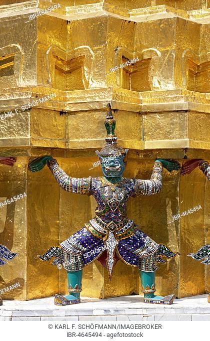 Yaksha figure as caryatide, Wat Phra Kaeo, Ko Ratanakosin, Bangkok, Thailand
