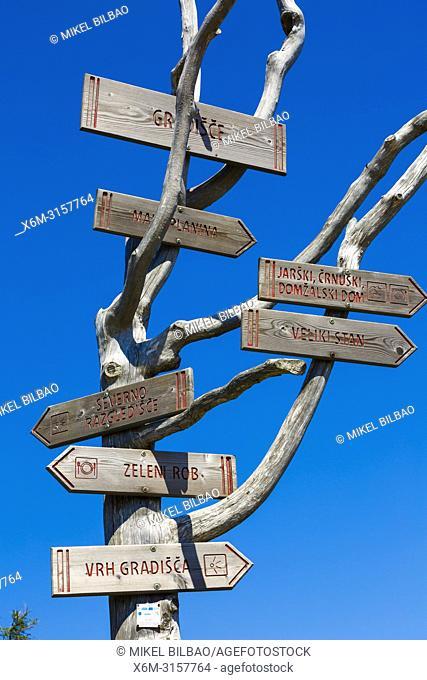 Direction signals. Velika Planina sky area. Upper Carniola region. Slovenia, Europe