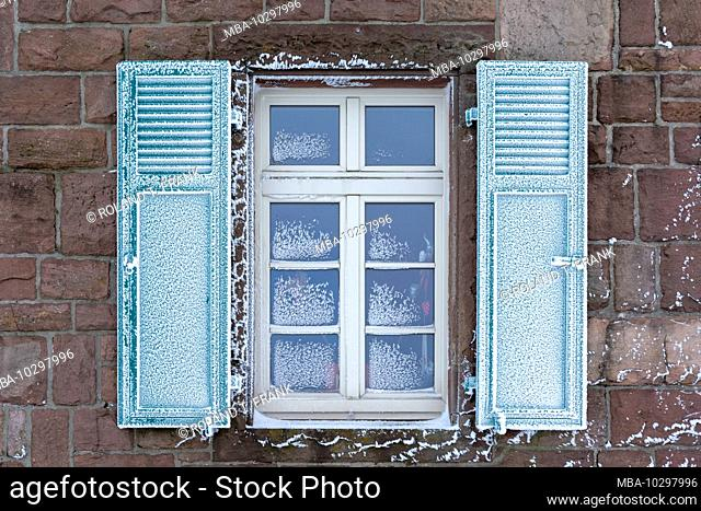 Germany, Baden-Württemberg, Black Forest, Hornisgrinde, the Hornisgrindeturm, window with shutters