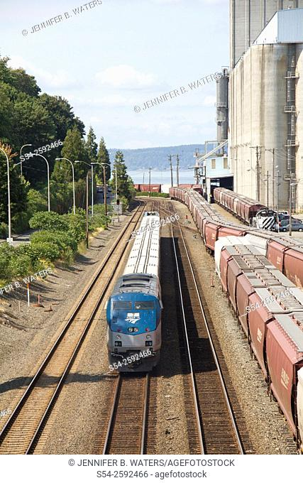An Amtrak Talgo passenger train just west of downtown Tacoma, Washington, USA and headed north toward Seattle