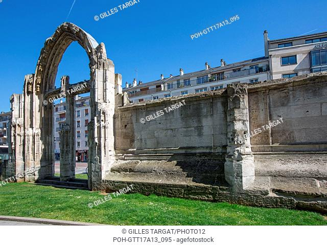France, Rouen, ruins of the former Church Saint-Vincent, bombarded in 1944, South gate and wall, Photo Gilles Targat