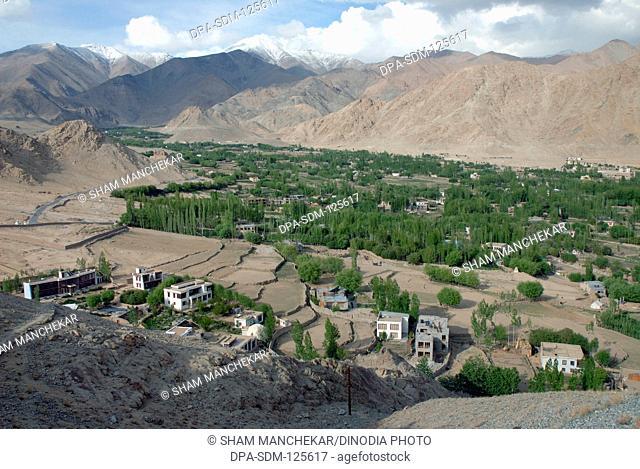 Aerial view of landscape ; Leh ; Ladakh ; Jammu & Kashmir ; India