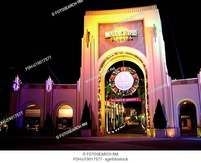 Orlando, FL, Florida, Universal Orlando Resort, Universal City Walk, Universal Studios Globe, entrance, gateway, evening