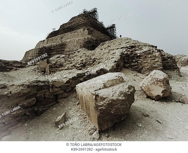 Pyramif of Zoser. Archeological remains. Saqqara necropolis. Egypt