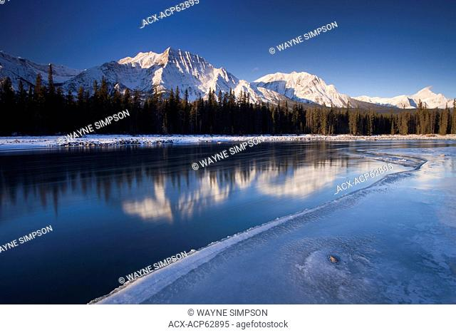 Athabasca River and Mount Fryatt in Jasper National Park, Alberta, Canada