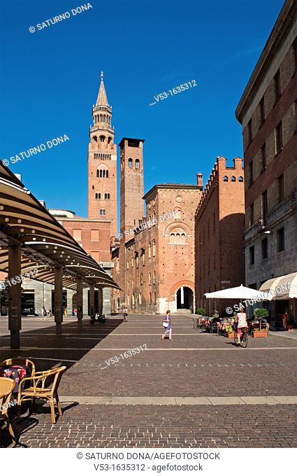 Piazza Stradivari, cobblestone square in Cremona, Lombardy, Italy