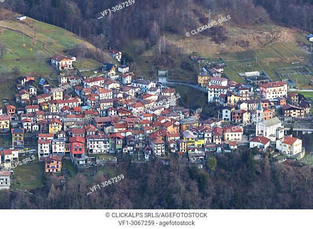 Village of Germasino from above. San Bernardo Church, Monte Bregagno, Dongo, Como Lake, Lombardy, Italy, Europe