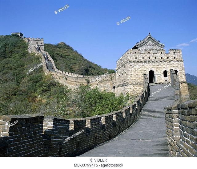 China, Mutianyu, Chinese wall,  Detail, tourists,  Asia, close to Peking, highland, mountains big wall Great embankment Ming-Dynastie 14-17 Jh