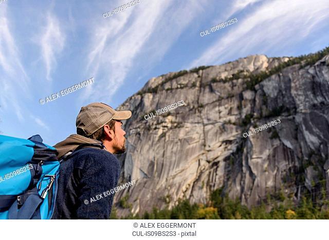 Rock climber on Malamute, Squamish, Canada