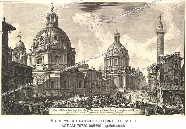 Two churches near Trajan's column, S. Maria di Loreto and Santissimo Nome di Maria (Veduta delle due chiesa, l'una detta della Madonna di Loreto