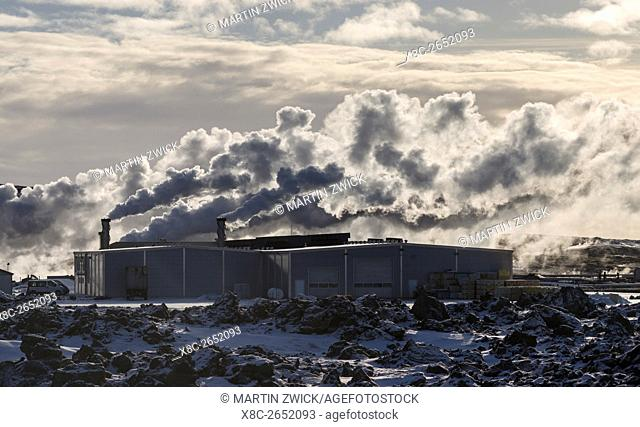 Geothermal area Gunnuhver and the geothermal power plant Sudurnes. europe, northern europe, iceland, February