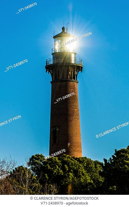 Currituck Beach Lighthouse with Morning Sunlight Reflected
