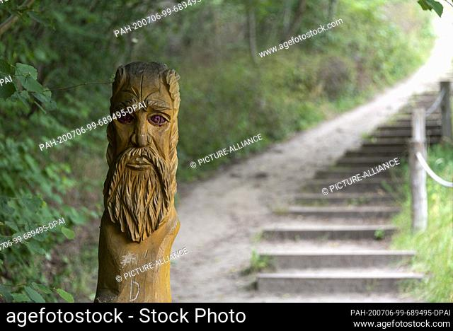 05 July 2020, Saxony-Anhalt, Weddersleben: A wooden devil marks the way to the Teufelsmauer. The rocks, which are located between Blankenburg and Ballenstedt in...