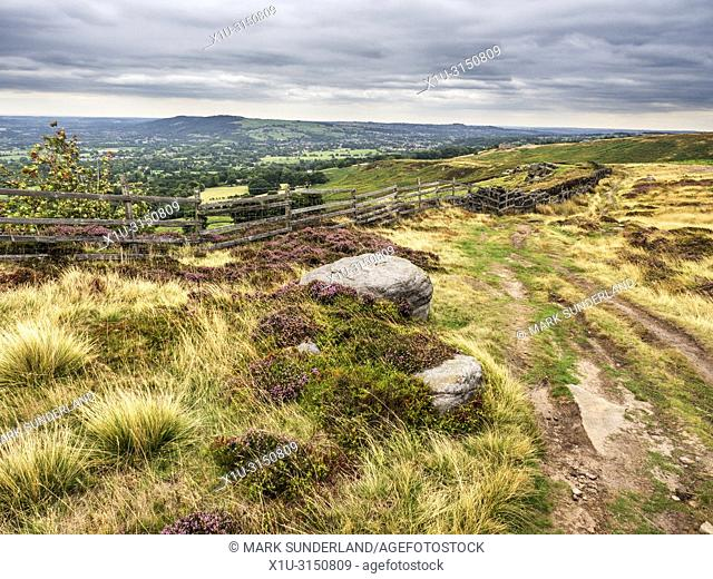 View over Wharfedale near Stead Crag on Burley Moor West Yorkshire England