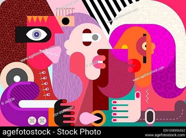 Modern abstract art close up portrait of Three People. Colorful vector illustration