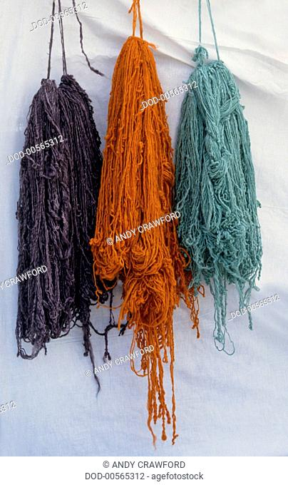 Tunisia, Brightly dyed wool hung up to dry