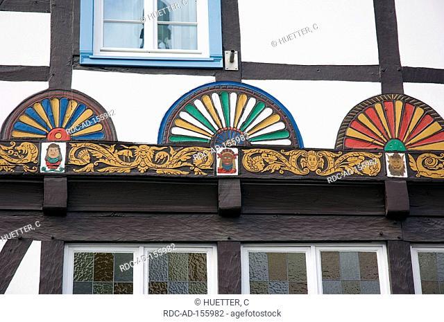 Facade of Timber-framed house  'Haus zur Rose' Soest North Rhine-Westphalia Germany Freiligrathhaus