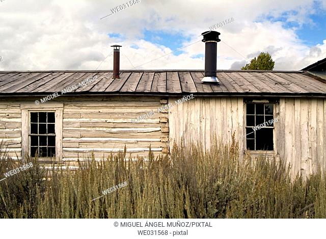 Old House of Bill Menor who operated the Menor's Ferry across the Snake River at Moose back in the late 1800's. Menors Ferry Historic Area