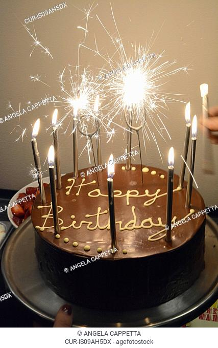 Chocolate Cake Sparkler Stock Photos And Images