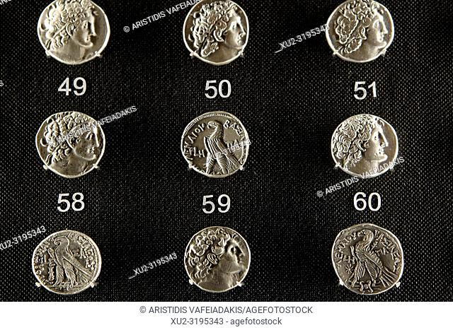 Ancient Greek coins in Numismatic Museum in Athens