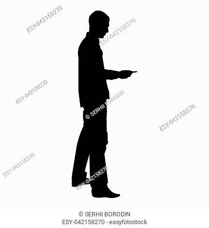 Man passes the card Business pay credit card silhouette icon black color vector illustration flat style simple image