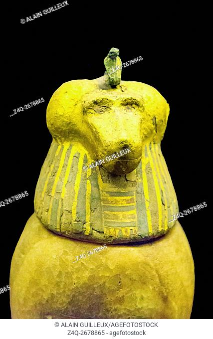 Egypt, Cairo, Egyptian Museum, found in the royal necropolis of Tanis, 1 of the 4 canopic vases of the king Psusennes. The plug is a monkey head