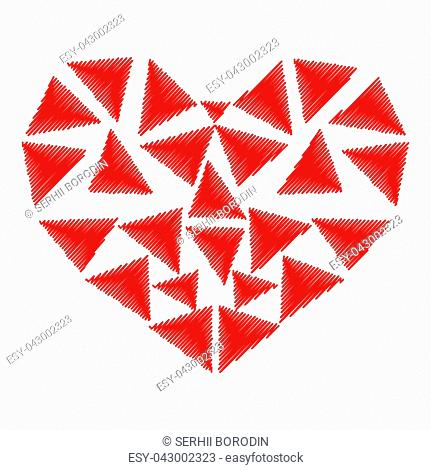 Heart red color with parts triangles