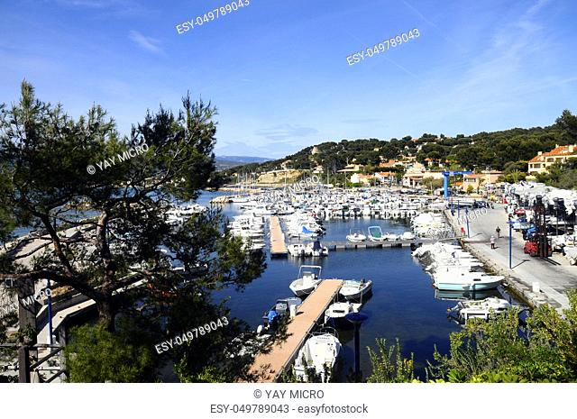 Overview of Marina of La Madrague, Saint-Cyr, near Marseille, France