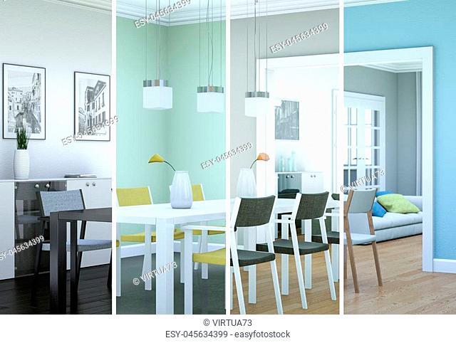 3d Illustration of splitted color variations of a modern loft interior design